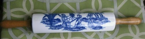 Vintage Blue & White Ceramic Pottery Rolling Pin