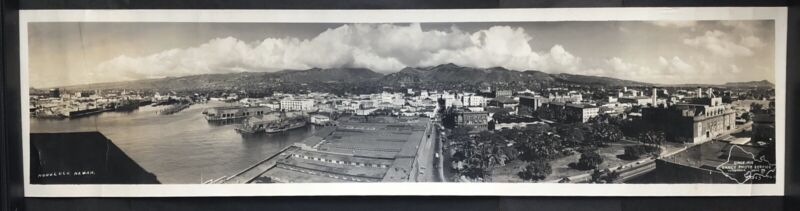 C. 1935 Panorama of Honolulu Harbor, Hawaii Yard Long Photo by Dancy 33x8