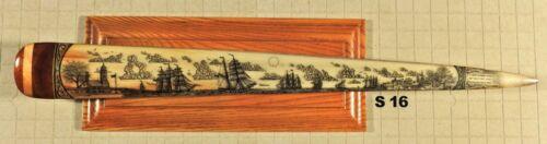SWORDFISH  BILL SCRIMSHAW  PEN-AND-INK  K. HENRY  SHIP  SWORD  WHALE S16