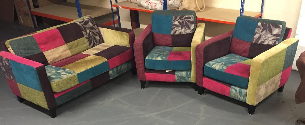 OoLovely Homebase Peggy Patchwork Sofa And 2 Chairsooo