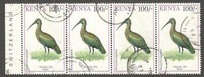 AOP Kenya #610 1993-99 100sh Bird strip of 4 used