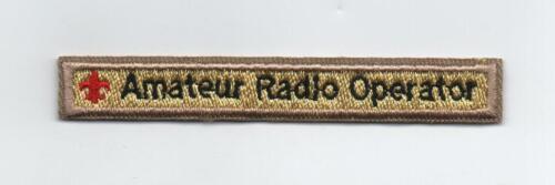 Amateur Radio Operator Award Strip, Black on Tan, Cloth Backing, Mint!