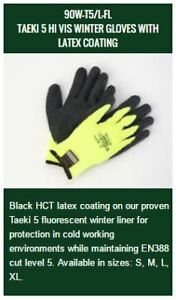 TAEKI 5 HI VIS WINTER GLOVES WITH LATEX COATING $70.00