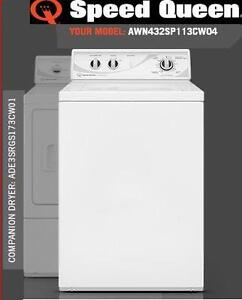 Speed Queen AWN432SP113CW04 and ADE3SRGS173CW01 Commercial Washer and Dryer pair for home use. 30 minutes quick wash