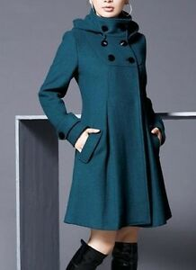 NEW CLOTH COAT (size probably XS-S)Blue Stand Collar & button on