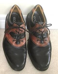 Slightly Used Men's Black & Tan Ecco Golf Shoes Size 11.5, Paid