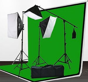 Video Continuous Softbox Lighting Kit with Green Screen