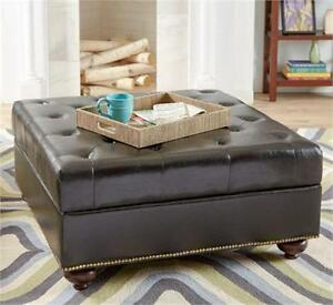 NEW BONDED UPHOLSTERED OTTOMAN BLACK BONDED LEATHER - Living Room Furniture