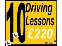 10 for £220* DRIVING SCHOOL LESSONS with INSTRUCTOR