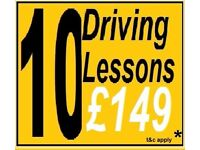 10 for £149* DRIVING SCHOOL LESSONS with INSTRUCTOR