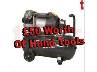 Sealey SAC5030VE Compressor 50 Litre V-twin Direct Drive 3hp + £50 Of Hand Tools