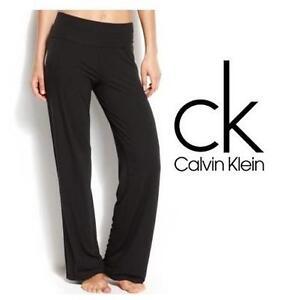 NEW CALVIN KLEIN PANTS WOMEN'S MED BLACK YOGA SLEEPWEAR 100667247