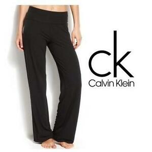 NEW CALVIN KLEIN PANTS WOMEN'S SM BLACK YOGA SLEEPWEAR 106844340