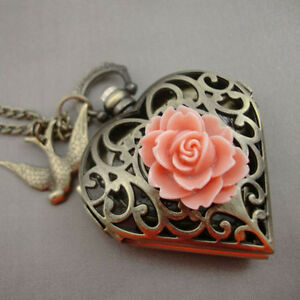 Antique Gold Heart Pocket Watch Locket Flower Necklace Swallow LARGE Steampunk