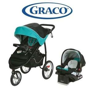 USED GRACO TRAVEL SYSTEM 7AM106TRP3CA 200488665 FASTACTION FOLD JOGGER CLICK CONNECT TROPIC