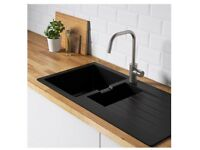 Black Quartz composite kitchen sink for sale £80. Size - 100 X 50cms.