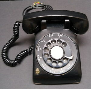 Vintage Collectible Working Black Rotary Dial Phone Décor / Prop