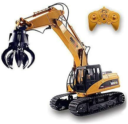 Fistone Remote Control Timber Grab Excavator RC Construction Vehicle Toy for Kid