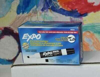 Expo Chisel Dry Erase Markers For Whiteboards Premium 80001 Black 12 Count