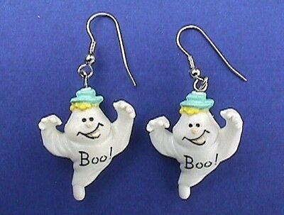EARRINGS Halloween Vintage GHOST BOO HAT Dangle Holiday PIERCED Jewelry