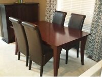 Dining Table & 4 Scroll Back Parson Chairs