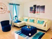 Dwell Original Leather White Corner Sofa - Excellent Condition