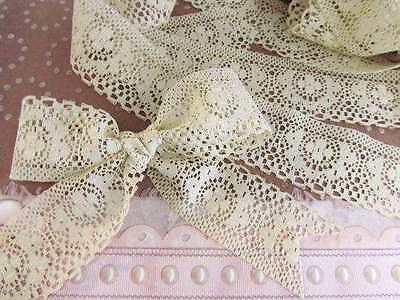 "5 yards Natural Beige 1.5"" Vintage Design Lace Ribbon/Craft/Trim/Bow/Wedding T1"