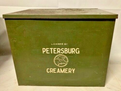 OLD PETERSBURG OHIO CREAMERY COMPANY GREEN METAL MILK BOX
