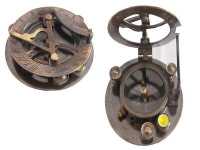 Nautical Vintage Antique Brass Made West London Sundial Desk Compass Desk Decor