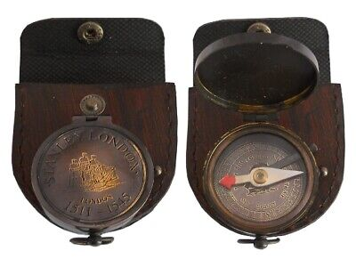 Brass Push Button Stanley London 1511-1545 Pocket Compass With Leather Case