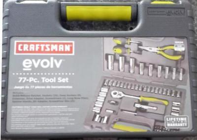 Craftsman Evolv 77 pc Mechanics Tool Set Socket Screwdriver Pliers Case SAE MM