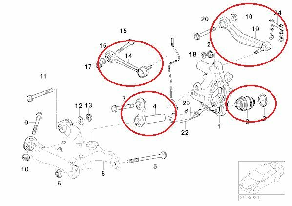 FOR BMW 5 SERIES E60 530i 530d REAR SUSPENSION ARMS BALL