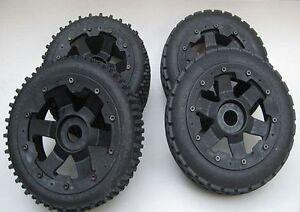 1/5 Baja Dirt Buster type Tyres & 6 Spoke Wheels R/F fit 5B Rovan Kingmotor PRC