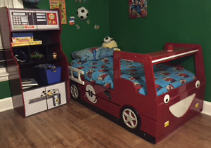 Fire truck trundle bed and bookcase