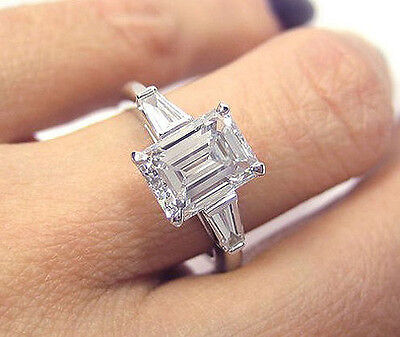 New! 18K WG 1.50 Ct Emerald Cut & Baguette Diamond Engagement Ring H,VVS2 GIA