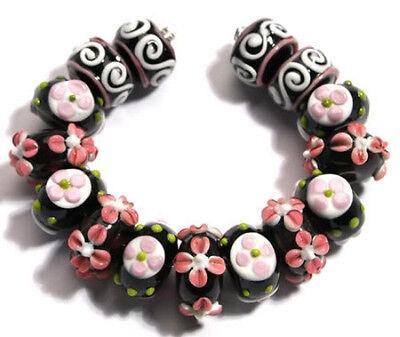 HANDMADE LAMPWORK GLASS BEADS Black White Pink Flower Dot Loose Craft Jewelry Dots Lampwork Glass Bead