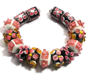 lampwork-Glass-BeadsHandmade-Black-Pink-Orange-Barrel-Flower-Jewelry-Making