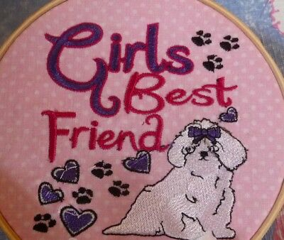 Maltese Best Friend Dog Embroidery Many Items Quilt Sewing Carols Crate