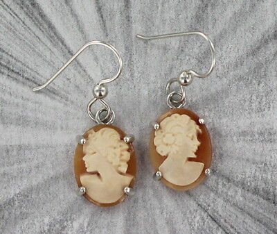 VINTAGE ANTIQUE SHELL CAMEO EARRINGS, ITALY  .925 STERLING SILVER SETTINGS