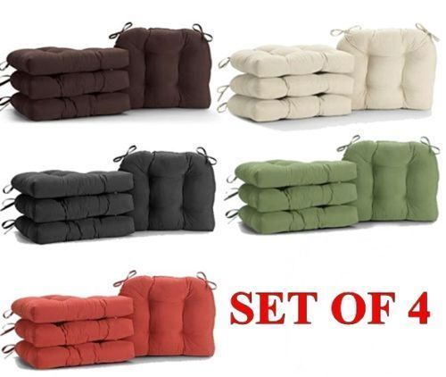 Microfiber Chair Pads SET OF 4 Faux Suede Chair Cushion Seat