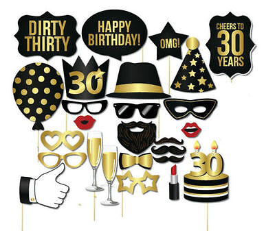 26PCS 30th Thirtieth Year Birthday Party Supplies Masks Favor Photo Booth Props  - 30th Birthday Supplies