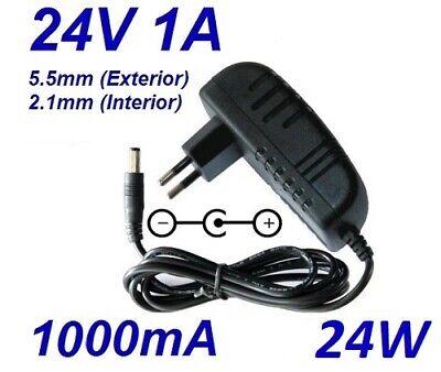 Cargador Corriente 24V 1A 1000mA 5.5mm 2.1mm 24W Cable Alimentacion Adaptador