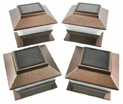 4 Solar Copper White LED Path Post Landscape Light Deck Outdoor Garden Top Decor