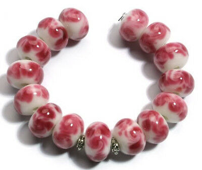 15 Handmade Lampwork White Pink Swirl Rondelle Jewelry Making Craft Glass -