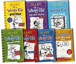 A Diary of a Wimpy Kid 7 Book  Set Collection 1 2 3 4 5 6 7 Cabin Fever Dog Days