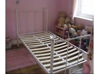 GIRLS ELLA SINGLE WROUGHT IRON CREAM BED WITH DIAMOND BEDPOSTS WOODEN SLATS - NEXT