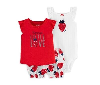 Child Of Mine Carter's Baby Girl 3-Piece Strawberry Red Outfit Set Size Newborn