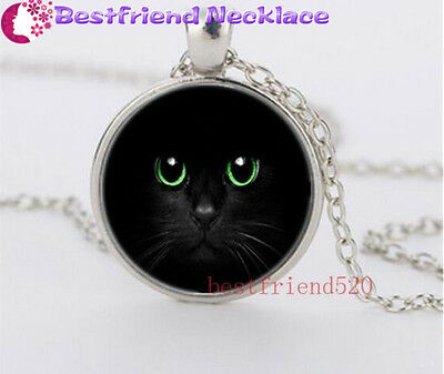 Black Cat and Green Eye Glass silver necklace for women men Jewelry