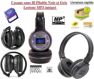 CASQUE SANS FIL LECTEUR MP3 INTÉGRÉ - RADIO FM - FONCTION 4 EN 1 - NOIR et GRIS