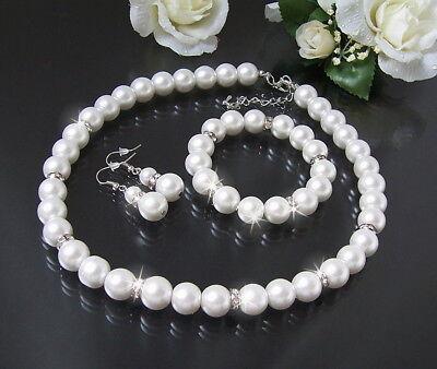 Schmuck Hochzeit Set Kette Armband Ohrringe 12mm Perlen Weiß 3-Teile Braut S1447